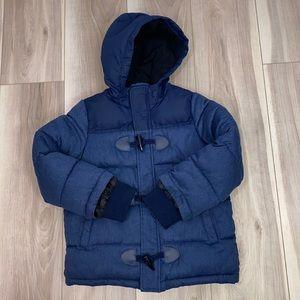 Tahari navy boy's puffer coat full zip hooded 6